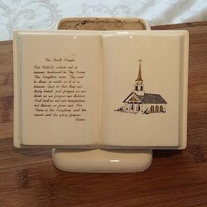 Vintage Bible Planter The Lord's Prayer